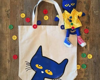 Pete the Cat Large Canvas Tote Book Bag