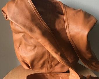 Slingshot,hobo soft leather handbag,handmade quality.Boho bag genuine leather shoulder purse market tote bag,crossbody adjustable.Slouch bag