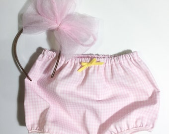 Bloomers, gingham print, pick your bow color