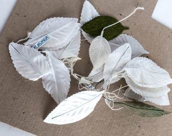 Mixed Lot Vintage White Green Leaf Leaves Flower Floral Millinery Supply Boutonniere Corsage