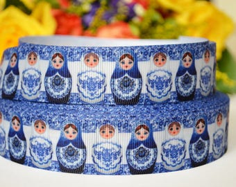 2m Russian Dolls, Matryoshka Printed Grosgrain Ribbon, Hair Bows Ribbon, (25mm)