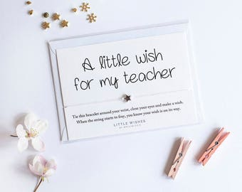 teacher gift, personalised teacher gift, teacher appreciation gift, teacher gift, teacher thank you, teacher wish bracelet, wish