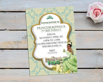 Princess and the frog invitation,princess and the frog,Disney inspired invitations,tiana,disney,princess and the frog invitations