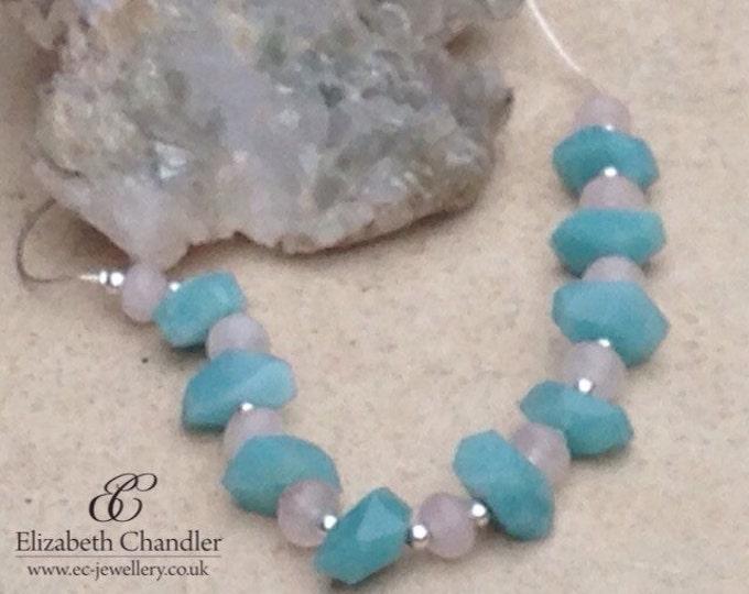 Faceted Amazonite with Rose Quartz Necklace and Earrings, rose quartz necklace, Amazonite necklace, necklace & earrings, Amazonite Jewelry
