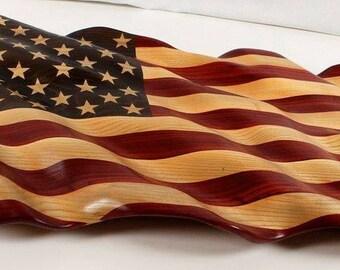 Hand Carved American Flag made of padauk and ash hardwoods