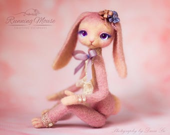 Needle felted bunny doll, Needle felted rabbit, felted animal, Art Doll, Cute pink bunny, collectors doll, Sweet lolita doll, art toy.