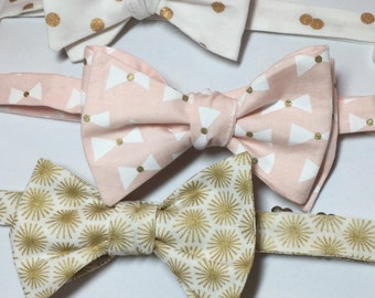 Pink Bow Ties, Mix and Match, Coordinating Bow Ties, Pink Gold Bow Ties, Gold White Bow Ties, Pink Gold Bow Ties, Mens Bow Ties, Freestyle