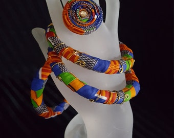 Handmade/African Bangles/ African / Jewelry/clothing/fabric/African Fabric/ Jewelry/  Ankara Bangles/ Kente Ring set/Wire wrapped