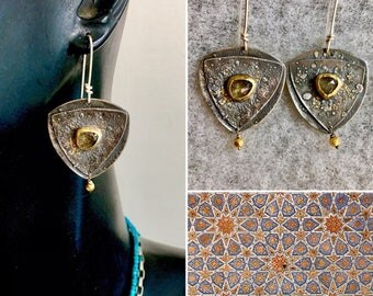 Reticulated sterling silver and 22kt ash green sapphire earrings