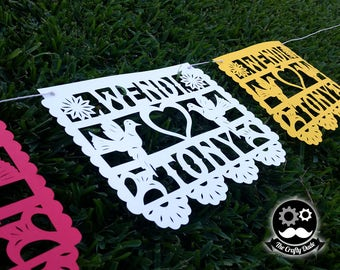Wedding papel picado / Wedding  mexican banner / Wedding colorful banner / Wedding  fiesta banner / Wedding banner / Papel picado banner