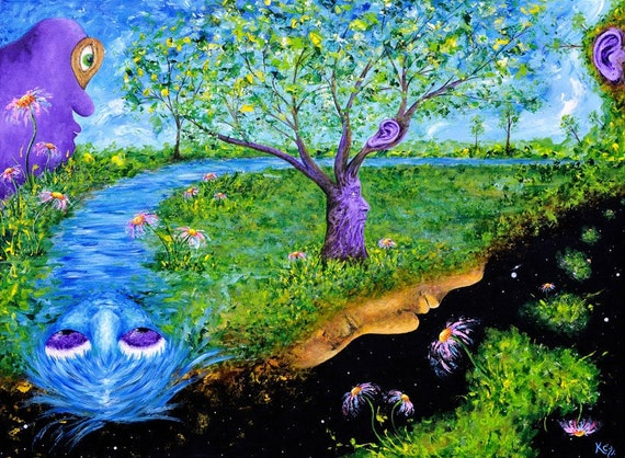 Visionary Impressionist Landscape Art Print entitled Gnosis. Trees and Cosmic Faces. Surrealism, Visionary Art, Impressionism. Fantasy Art.