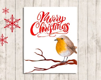 Merry Christmas robin wall art printable quote instant download digital 8 x 10 modern contemporary art print home decor
