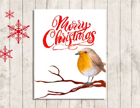 Merry Christmas Quote Wall Art Decal: Merry Christmas Robin Wall Art Printable Quote Instant