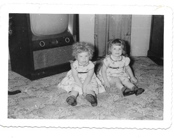 "Vintage Photo ""The Twins"" children, baby, little girls, antique, old photo, black and white photo, snapshot, photography, paper ephemera"