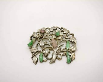 Vintage Chinese Art Deco Silver Brooch with Jades & Rose Quartz