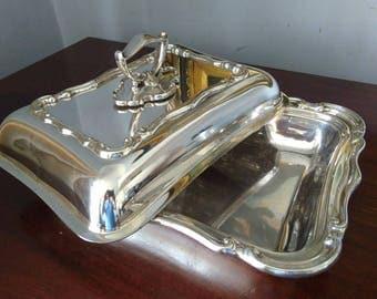 English Edwardian Antique Silver Plate Entree Dish W Hutton Sheffield C1910