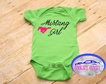 Mustang Girl with Horse Infant Baby One Piece Bodysuit (creeper)  Perfect for the Ford Mustang car lover & their baby girl!
