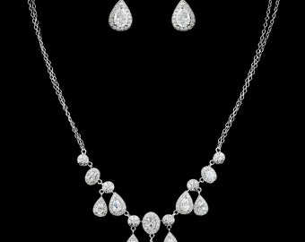 New Bridal CZ Oval & Pear Shape Crystal  Necklace and Matching Pierced Earring Set