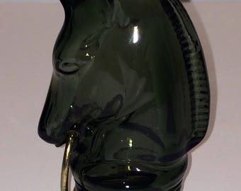 Collectible Avon Horse Head Knight Chess Piece Green Glass Cologne Bottle or Decanter Empty