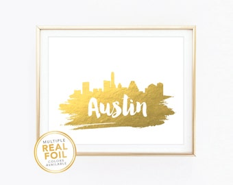 Austin Skyline, Texas, United States, Real Foil Print, Silver foil, Gold foil, Home Decor, Wall Art, Gallery Art, Modern Art.