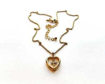 Vintage Avon Gold Necklace with Little Heart and Rhinestone Cross Pendant