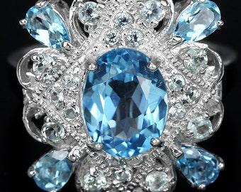 Edwardian Downton Abbey 14k White Gold Vermeil Swiss & Sky Blue Topaz Ring (USA 7.5/UK P) Truly Venusian