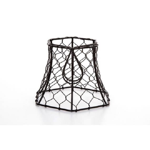 Cleveland Vintage Lighting Clip On Lampshade: Chicken Wire Clip On Lamp Shade Hexagon Black Vintage