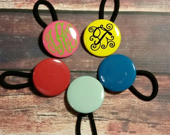 Enamel Disc Ponytail Holder ~ Monogrammed