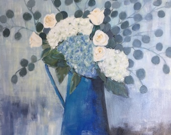 """Original Oil Painting.  """"Hydrangeas in French Blue Pitcher"""". Gallery canvas. 24 x 24"""