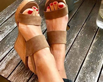 Suede P&M Petra Wedge Sandals