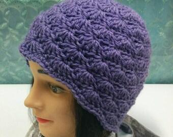 Lilac Wool Crochet Hat