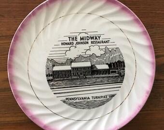 1950s Advertising Plate for Howard Johnsons Pennsylvania Turnpike