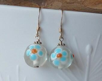 Sterling Silver Blue Flower Earrings Retro Style Handmade Dangle Glass Earrings, Floral Earrings, Round Dangle Earrings, Girls Jewelry