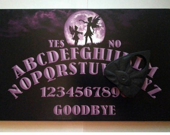 A4 Hand Finished Wooden Full Moon Fairy Talking Board Set Complete with All-Seeing Eye Planchette, Classic Ouija Style Board,Faeries