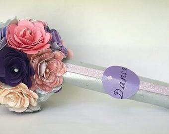 Dance recital Paper Flower Bouquet - Ballet -  pin, white , and purple - Dance
