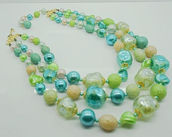 Vintage Blue Green Beaded Triple Strand Necklace