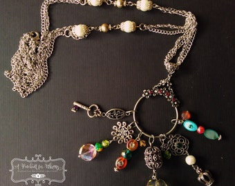 Chunky Charm Necklace with Multiple Charms