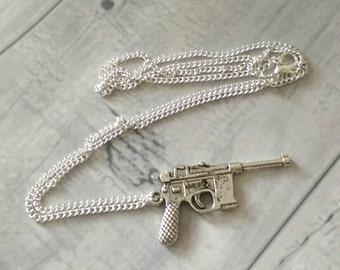 Pistol pendant necklace, pistol gun necklace, gun necklace, gun jewellery, weapon necklace, weapon jewellery