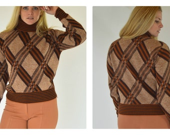 Vintage 70s turtle neck sweater Striped sweatshirt Brown sweater