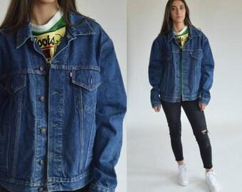 80s Denim Jacket -  Levis - Jean jacket - Denim jacket - Levis jacket - Grunge coat - Dark blue - Vintage Hipster -1980s-Unisex Medium Large