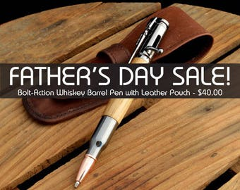 Father's Day Sale - Jack Daniel's Reclaimed Oak Bolt-action Pen With Gun Metal Fittings And Genuine Leather Pen Pouch