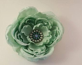 Aquamarine Flower Hair Clip