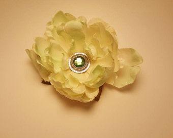 Pale green flower hair clip