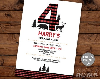 Lumberjack 4TH Birthday Fourth Invite Red Check DOWNLOAD Invitation Personalize Flannel Four 4 Party TWINS Woodland Bear Editable Printable
