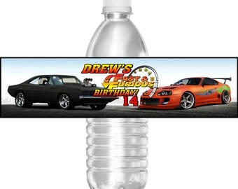 Printable Birthday Party Water Bottle Labels Fast and Furious 16.9 oz or Mini Water Gatorade Cars