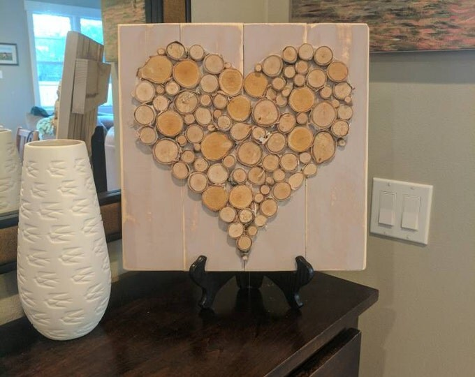 Birch Log Slice Heart on Distressed Purple-Painted Wood
