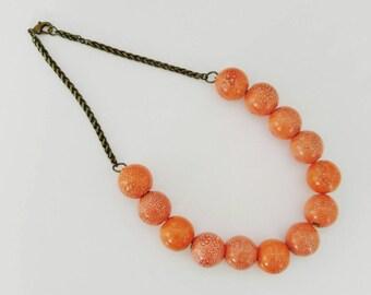 Necklace,Handmade Large Ceramic Orange Beaded Necklace, Statement Necklacs, Beaded Necklaces, Summer Jewelry, Orange Beaded Necklace