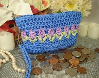 Womens Change Purse, Coin Purse, Change Purse, coin purse wallet, zipper pouch, woman coin pouch, tulip motif, small zip purse, bff gifts