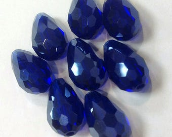 Blue Teardrop Glass Beads, Glass Teardrop Beads, Blue Teardrop Beads, Jewelry Supplies, Findings, Blue Crystal Beads, Blue Glass Beads, Bead