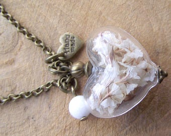 White flowers glass hollow Bead Necklace heart